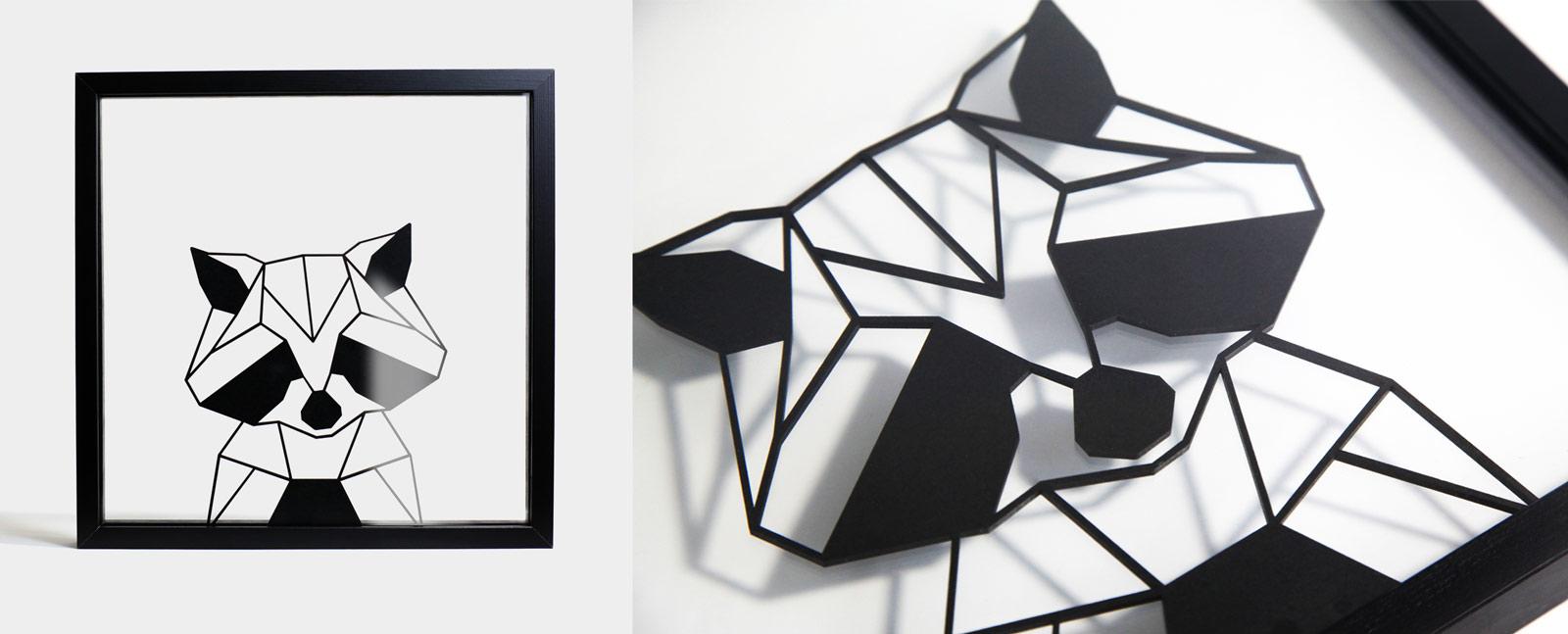 Tableau géométrique Design Raton Laveur - Ornaté